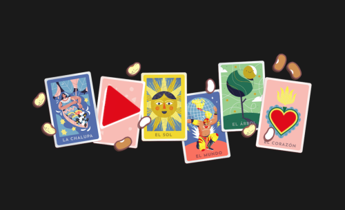 Screenhot from Google page 'Popular Google Doodle games'. It shows a colourful set of 5 cards depicting La chalupa, El sol, El mundo and El Corazón