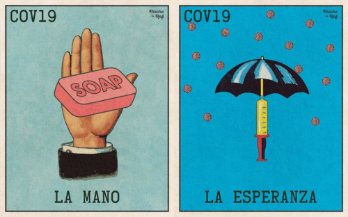 Images of lotería game card no. 21. La mano / The hand. It shows the hand holding a pink soap, and card no. 5. La esperanza / The hope. It shows an open umbrella. The stick of the umbrella is a syringe. They represent the importance of washing hands and the hope that scientists will find the COVID-19 vaccine