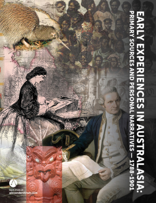 Promotional material for the digital resource 'Early Experiences in Australasia: Primary Sources and Personal Narratives 1788-1901'