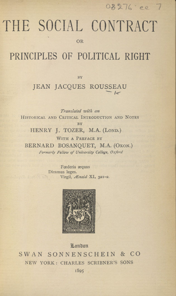Title page of Rousseau's The Social Contract translated by H J Tozer