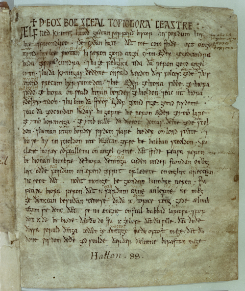 A page from King Alfred's translation of the Pastoral Care