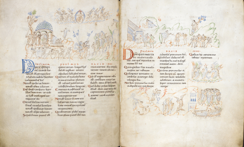 An opening of two pages from the Harley Psalter