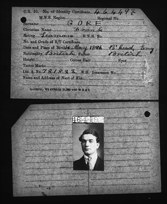 Frank Gore - Merchant Navy document with photograph