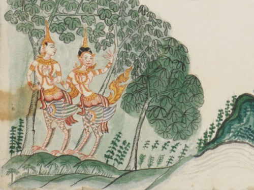 A pair of Kinnara in the mythological Himavanta forest depicted in a collection of drawings on Thai cosmology and mythology
