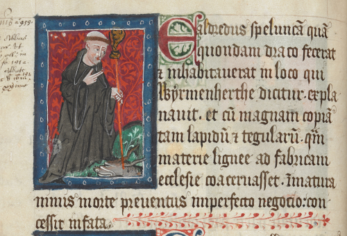 Portrait of Abbot Ealdred with a dragon at his feet