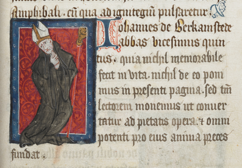 Portrait of Abbot John Berkamsted wringing his hands in anguish