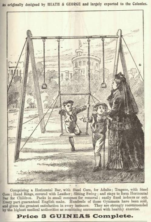 Nursery gym - two children and a woman looking like Queen Victoria with a castle in the background