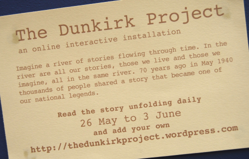 Photograph of card showing details for the Dunkirk Project