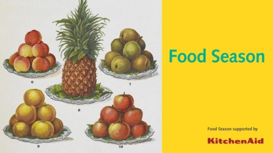 British Library Food Season logo, with historical pictures of pineapple and plates of fruit