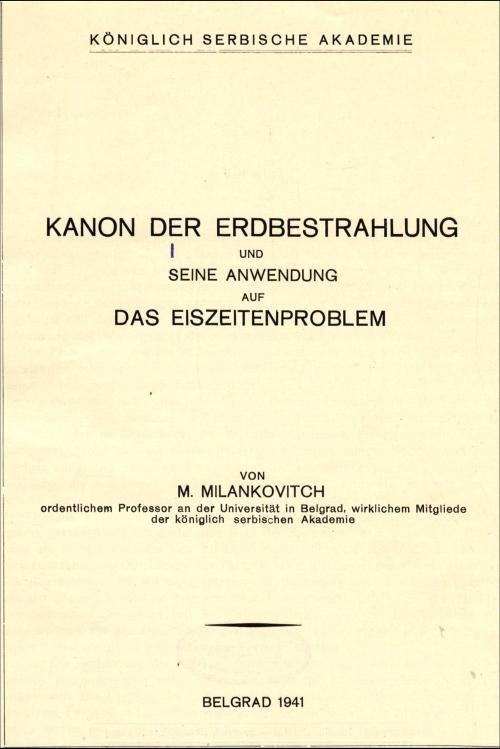 Cover of Milutin Milanković, Kanon der Erdbestrahlung...