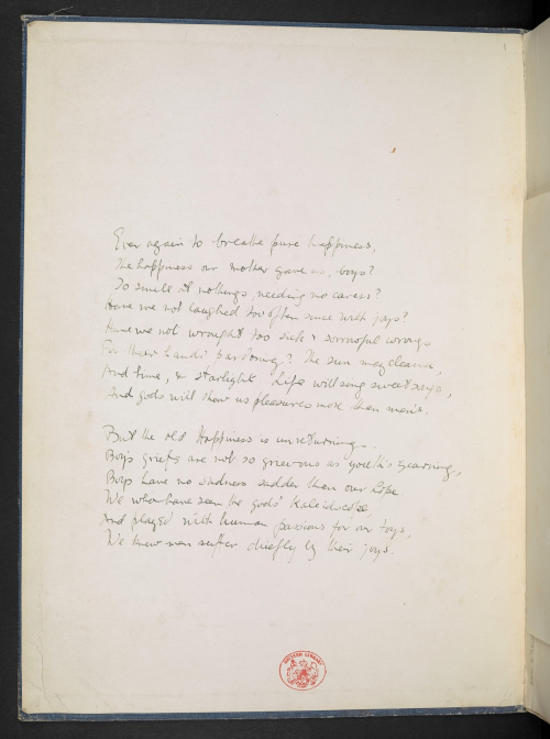 Wilfred Owen's poem 'Happiness' written by Michael Tippett