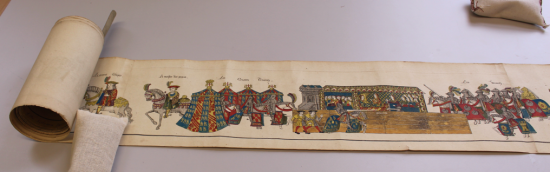 Partially unrolled 'Description of the Jousts held at Westminster' on the conservators desk