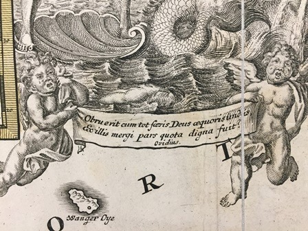 Detail from Homann's map with weeping putti holding a banner with a quotation from Ovid