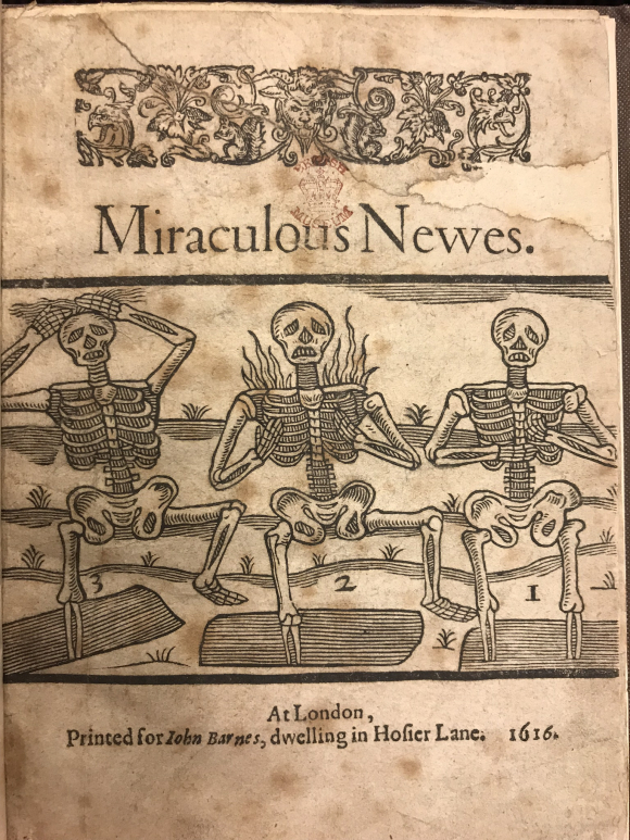 Cover of Miraculous Newes featuring three skeletons