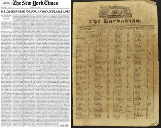 Front Pages of the New York Times and The Barbadian newspapers