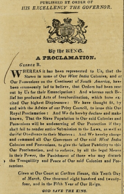 Proclamation by King George IV