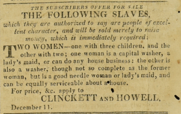 Slaves for sale advert