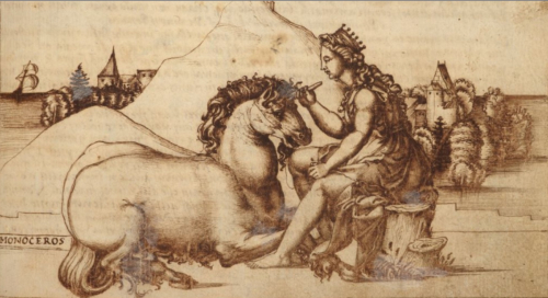 A unicorn lying down before a virgin who holds his horn while sitting on the trunk of a tree, drawn in brown ink