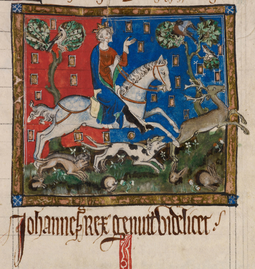 A miniature from an illuminated legal manuscript, showing King John hunting on a grey horse, accompanied by dogs, and with rabbits darting into their burrows