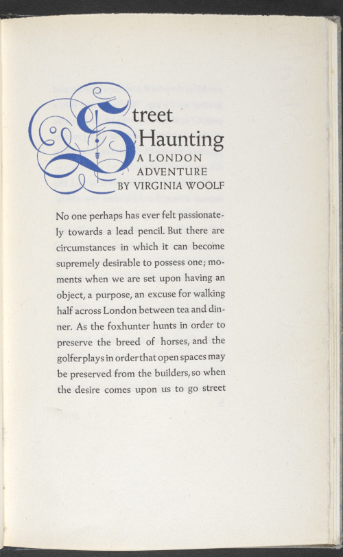 First page of printed version of Street Haunting by Virginia Woolf