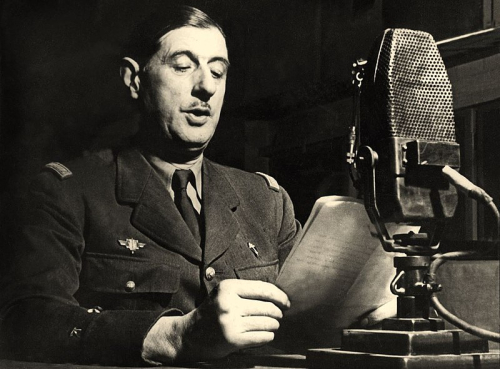 Photograph of de Gaulle recording a speech