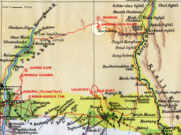 Map of Dandan-Uiliq, after Stein Sand-buried ruins of Khotan