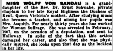 Biographical note from 'Votes for Women'
