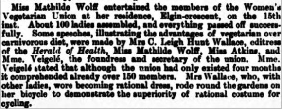 Meeting of Women's Vegetarian Union reported in 'The Queen' 20 July 1895