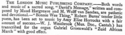 Article mentioning song 'David's Message' in 'The Graphic' 12 January 1889