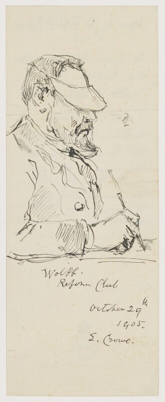Portrait of Henry William Wolff writing at the Reform Club