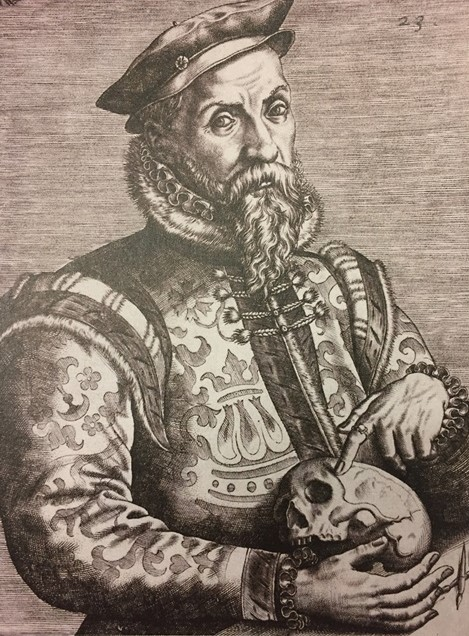 Portrait of Hieronymus Cock holding a skull