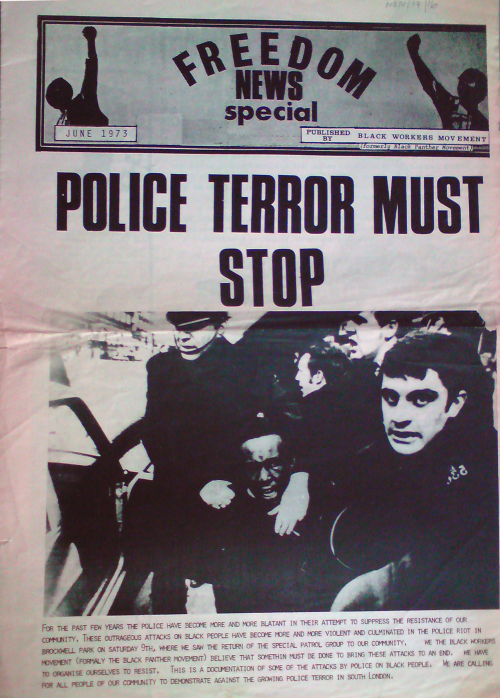 "Cover of 'Freedom News', June 1973. Headline reads ""Police terror must stop"""