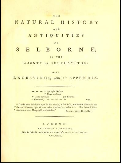 Title page of the Natural History of Selborne