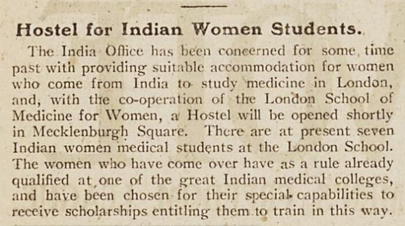 Newspaper article on the hostel for Indian medical students from Vote 16 July 1920