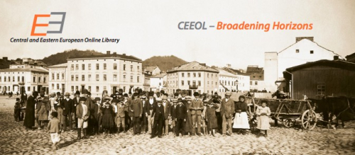 Photograph of a group of people in a city square c. early 1900s. Features the CEEOL logo and words 'CEEOL - Broadening Horizons'