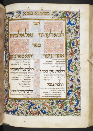 embellished opening to Sefer Nezikin (Book of Damages)