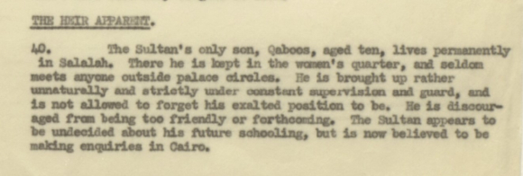 Note on Qaboos in Annual Muscat Administration Report  1950-51