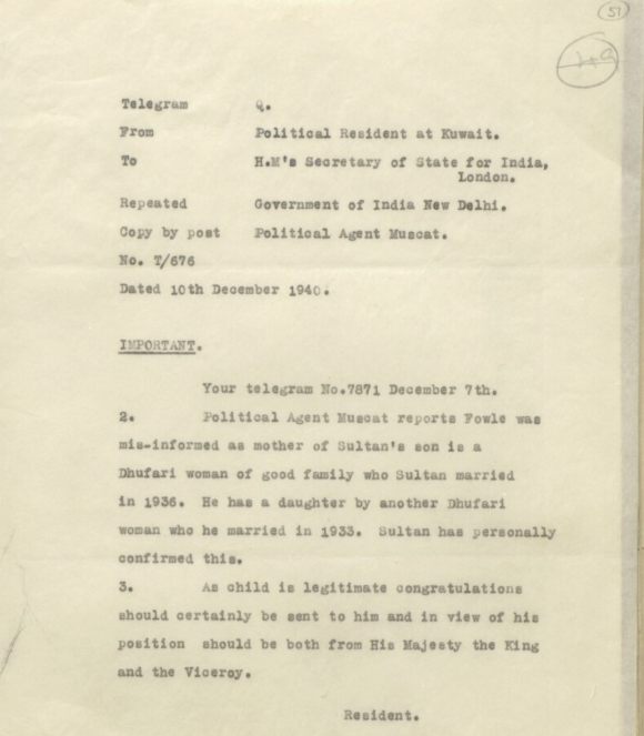 Text of telegram from Political Resident at Kuwait  to Secretary of State for India  London