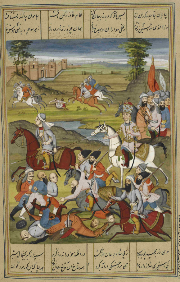 Painting showing the defeat of Prince Najaf's brother, Loṭf-ʿAli Khan, the last Zand ruler, with the city of Shiraz in the background