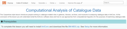 Screenshot of the website for the lesson entitled Computational Analysis of Catalogue Data