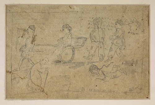 A Sunday evening walk in China. Earliest surviving drawing by Mervyn Peake  aged 7  circa 1918. © Estate of Mervyn Peake.