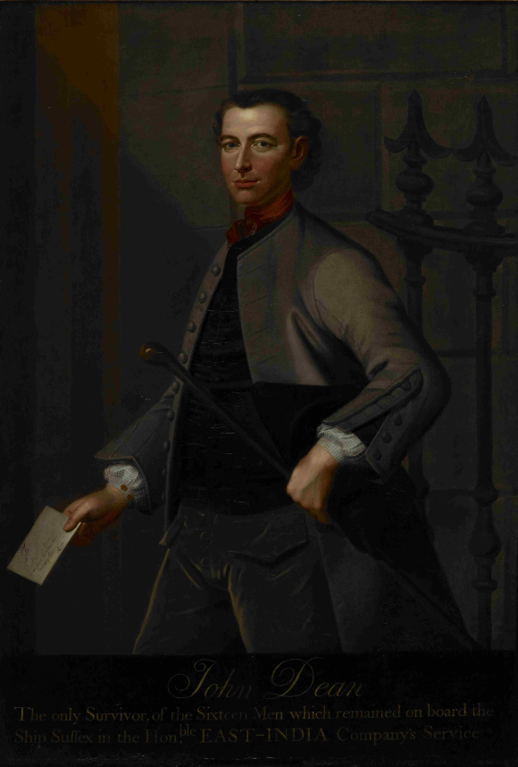 Portrait of John Dean, three quarter length,  dressed in smart working class attire, carrying a hat and a walking stick in one hand and a letter of reference in the other.