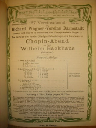 Concert programme title page from a 1910 concert held in Darmstadt