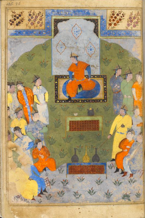 Full-page painting showing a man dressed in Central Asian clothing seated before his courtesans in similar dress