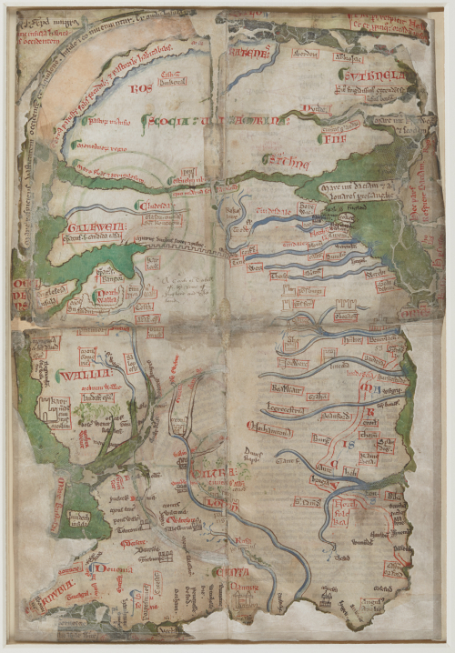 A map of Britain by Matthew Paris, partly damaged in the Cotton Fire 1731.