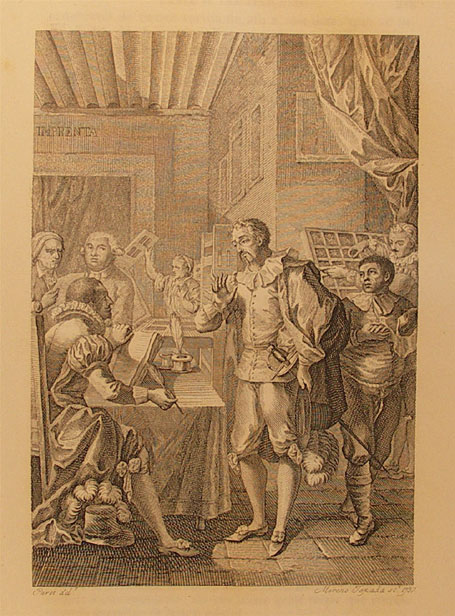 Engraving of Don Quixote in the printing shop