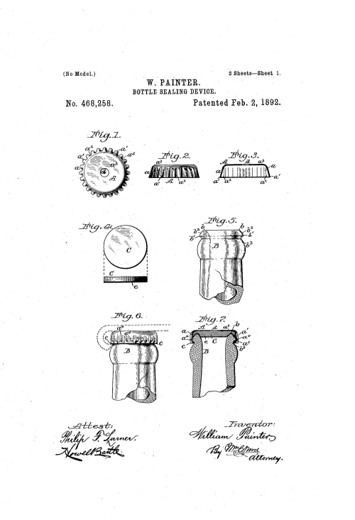 Patent for William Painter's bottle sealing device