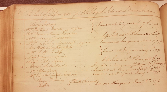 Passenger list homeward of ship Royal Admiral 1795