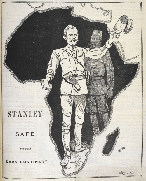 Illustration titled 'Stanley safe out of the dark continent' commemorating Henry Morton Stanley's safe return from Africa, the 'Dark Continent' Shelfmark: PENP.NT152