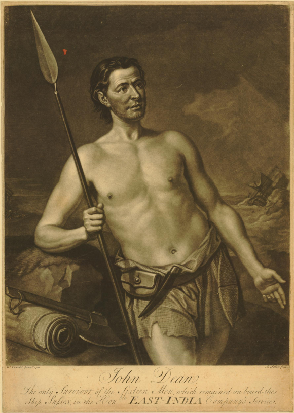 Portrait of John Dean, three-quarter length, holding a spear, leaning back to the right against a rock, an axe and rolled mat beside him, a knife in his belt, wearing only a tattered pair of shorts, gesturing and looking to left, a ship tossed in heavy waves in the background.